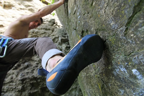 Climbing shoes widen and stretch