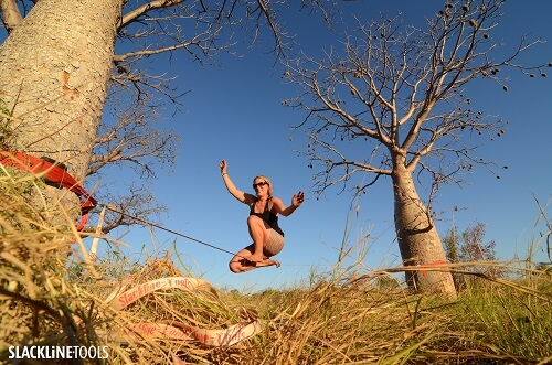 During slacklining the anchors are subjected to enormous forces